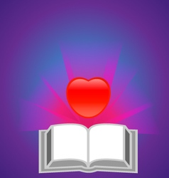 Red heart with book vector
