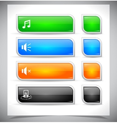 Set of color plastic buttons for web vector