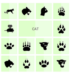 14 cat icons vector image
