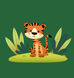 A cartoon tiger and tropical leaves vector