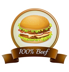 A pure beef label with a burger vector image