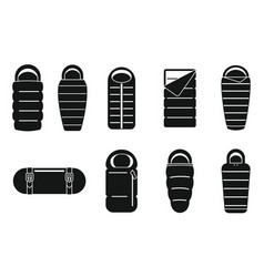 Adventure sleeping bag icons set simple style vector