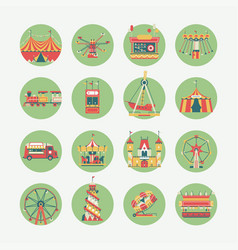 amusement park round icons vector image