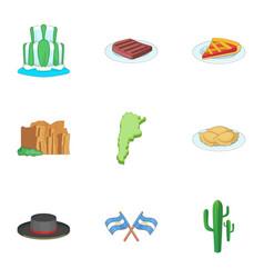 argentina picnic icons set cartoon style vector image