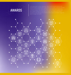 awards concept in honeycombs with thin line icons vector image
