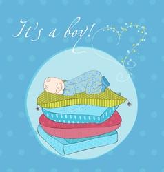 Baby boy sleeping on pillows card vector