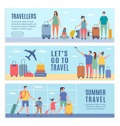 banners summer characters people goes to vector image