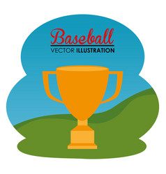 baseball sport with trophy cup vector image