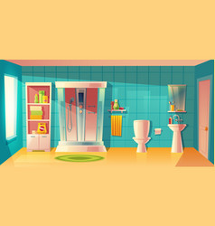 bathroom interior shower cabin and vector image