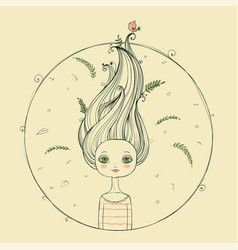 beautiful girl with flying hair vector image