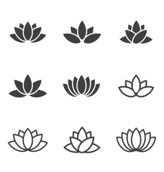black lotus icons set on white background vector image