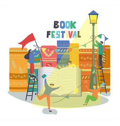 Book festival poster design with people vector