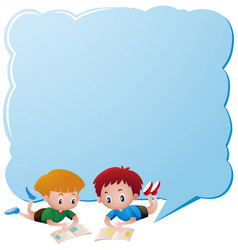 Border template with two boys reading books vector