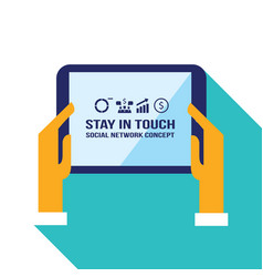 businessman hands holding the tablet with web vector image