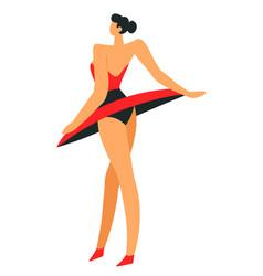 Carmen ballet dancer in red tutu skirt or catwalk vector