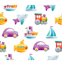 cartoon toy transport seamless pattern cute 3d vector image