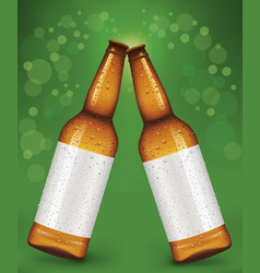 cheers beer bottles with blank label vector image