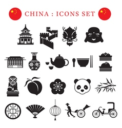 China Mono Icons Set vector image