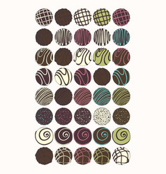 Chocolate candies set of for design vector