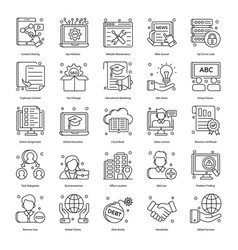 Corporate concepts in line style pack vector