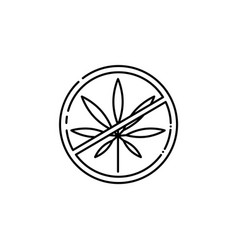 crossed cannabis leaves in circle hemp icon vector image
