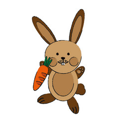 Cute rabbit or bunny holding carrot icon image vector
