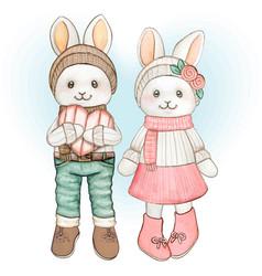 cute watercolor pastel bunnies valentine greetings vector image