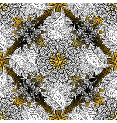 Damask golden floral pattern on a white black vector