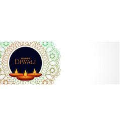 Decorative indian style diwali festival white vector