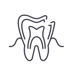 dental caries line icon sign vector image