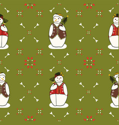 festive and green christmas embroidery snowman vector image