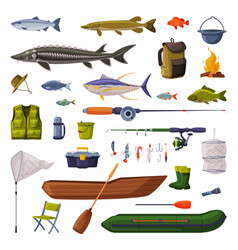 fishing equipment set freshwater fishes rod vector image