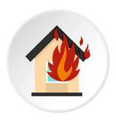 flames from house window icon circle vector image