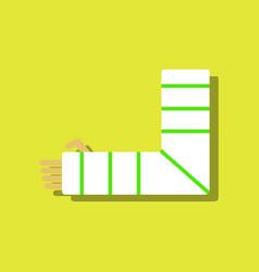 Flat icon design collection broken arm in sticker vector