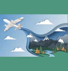 Flying airplane in paper art vector