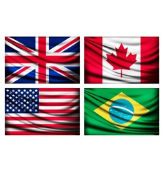 Four flags - UK Canada USA Brazil vector