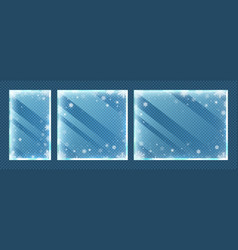 frozen glass frames with snowflakes winter window vector image