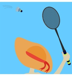 Girl and badminton vector