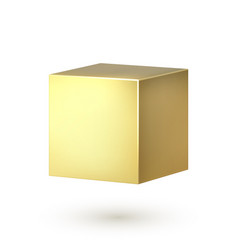 Golden cube realistic 3d square shape box vector