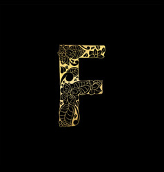 Golden ornamental alphabet letter f font vector