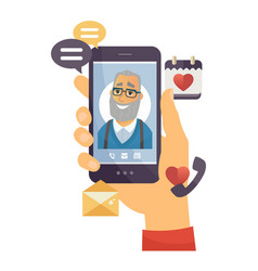 grandfather calling - modern cartoon vector image