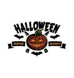 halloween dark night emblem vector image