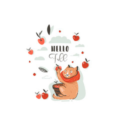 Hand drawn abstract greeting cartoon autumn vector