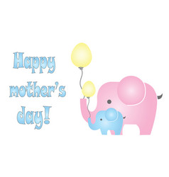 Happy mothers day card with elephants vector
