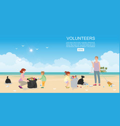 happy volunteer family collecting rubbish on beach vector image