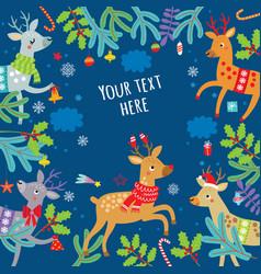 holidays christmas background deer vector image