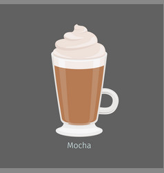 Irish glass with mocha coffee flat vector