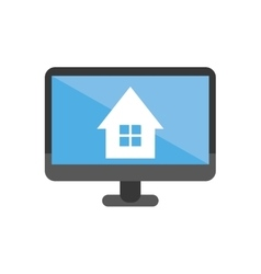 Isolated house inside computer design vector