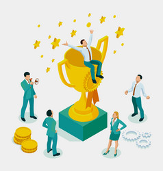 isometric businessman success leadership awards vector image