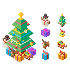 isometric christmas tree new year vector image